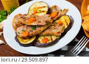 Купить «Mutton chops served with grilled vegetables», фото № 29509897, снято 4 июля 2020 г. (c) Яков Филимонов / Фотобанк Лори
