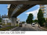 Купить «Sochi, Russia - June 2 2018. Overpasses on the highway A-147 from Adler to Sochi», фото № 29509997, снято 2 июня 2018 г. (c) Володина Ольга / Фотобанк Лори