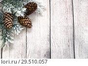 Купить «С Новым годом. Еловые ветки и шишки. Открытка», фото № 29510057, снято 2 декабря 2018 г. (c) Наталья Осипова / Фотобанк Лори