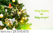 Купить «Decorated Christmas tree closeup, Merry Christmas and Happy new year 2019, banner background, Happy Holidays, Christmas snow background», фото № 29510613, снято 1 декабря 2018 г. (c) Сергей Тимофеев / Фотобанк Лори