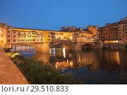 Купить «Night view of Ponte Vecchio in Florence, Italy», фото № 29510833, снято 9 августа 2018 г. (c) Stockphoto / Фотобанк Лори