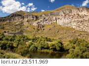 Купить «Ancient cave monastery Vardzia on left bank of the Kura River in Georgia, general view», фото № 29511969, снято 25 сентября 2018 г. (c) Юлия Бабкина / Фотобанк Лори