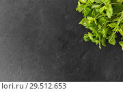 Купить «green mint leaves on stone background», фото № 29512653, снято 4 апреля 2018 г. (c) Syda Productions / Фотобанк Лори