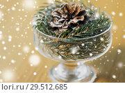 Купить «close up of christmas decoration of fir and cone», фото № 29512685, снято 15 ноября 2017 г. (c) Syda Productions / Фотобанк Лори