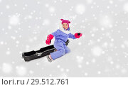 Купить «little girl with sled on snow hill in winter», фото № 29512761, снято 10 февраля 2018 г. (c) Syda Productions / Фотобанк Лори