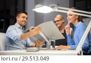 Купить «business team with papers working late at office», фото № 29513049, снято 6 декабря 2017 г. (c) Syda Productions / Фотобанк Лори