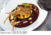 Купить «Lamb ribs with grilled eggplant», фото № 29513981, снято 26 марта 2019 г. (c) Яков Филимонов / Фотобанк Лори