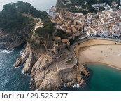 Купить «Aerial view of Tossa de Mar, Spain», фото № 29523277, снято 21 января 2018 г. (c) Яков Филимонов / Фотобанк Лори