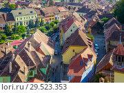 Купить «Image of view from Clock tower in Sighisoara», фото № 29523353, снято 16 сентября 2017 г. (c) Яков Филимонов / Фотобанк Лори