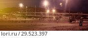 Купить «Panorama of city highway in dusk with blurred headlights», фото № 29523397, снято 20 июля 2017 г. (c) Яков Филимонов / Фотобанк Лори