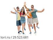 Купить «friends in sunglasses having fun», фото № 29523681, снято 30 июня 2018 г. (c) Syda Productions / Фотобанк Лори
