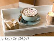 Купить «hot chocolate, christmas gift and candles on table», фото № 29524689, снято 13 января 2018 г. (c) Syda Productions / Фотобанк Лори