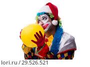 Купить «Young funny clown comedian isolated on white», фото № 29526521, снято 20 июля 2018 г. (c) Elnur / Фотобанк Лори