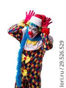 Купить «Young funny clown comedian isolated on white», фото № 29526529, снято 20 июля 2018 г. (c) Elnur / Фотобанк Лори