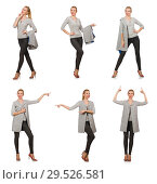 Купить «Pretty woman in gray blouse isolated on white», фото № 29526581, снято 17 сентября 2014 г. (c) Elnur / Фотобанк Лори