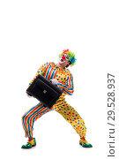 Купить «Funny clown isolated on white background», фото № 29528937, снято 28 сентября 2018 г. (c) Elnur / Фотобанк Лори
