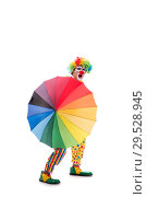Купить «Funny clown isolated on white background», фото № 29528945, снято 28 сентября 2018 г. (c) Elnur / Фотобанк Лори