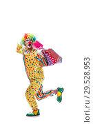 Купить «Funny clown isolated on white background», фото № 29528953, снято 28 сентября 2018 г. (c) Elnur / Фотобанк Лори