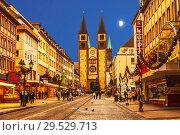 Christmas Wurzburg with cathedral St. Kilian at night, Bavaria, Germany (2012 год). Редакционное фото, фотограф Наталья Волкова / Фотобанк Лори