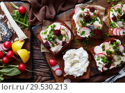 Купить «Smorrebrod with fish - danish open-faced sandwich», фото № 29530213, снято 1 декабря 2018 г. (c) Oksana Zh / Фотобанк Лори