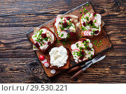 Купить «Smorrebrod with fish - danish open faced sandwich», фото № 29530221, снято 1 декабря 2018 г. (c) Oksana Zh / Фотобанк Лори