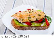 Tasty piece of bread with fried trout fillet. Стоковое фото, фотограф Яков Филимонов / Фотобанк Лори