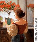 Купить «Charlemont Hugo - Young Woman with Azalea by the Window.», фото № 29534865, снято 11 декабря 2018 г. (c) age Fotostock / Фотобанк Лори