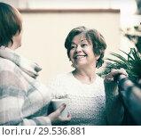 Women in pullovers on terrace. Стоковое фото, фотограф Яков Филимонов / Фотобанк Лори