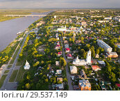 Panoramic aerial view historical part of the Murom with Oka (2018 год). Стоковое фото, фотограф Яков Филимонов / Фотобанк Лори