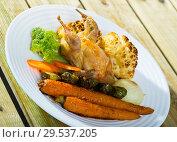 Купить «Partridge baked with vegetables», фото № 29537205, снято 22 марта 2019 г. (c) Яков Филимонов / Фотобанк Лори