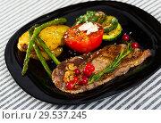 Купить «Veal with grilled vegetables», фото № 29537245, снято 27 июня 2018 г. (c) Яков Филимонов / Фотобанк Лори