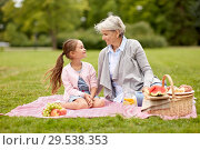 Купить «grandmother and granddaughter at picnic in park», фото № 29538353, снято 11 августа 2018 г. (c) Syda Productions / Фотобанк Лори