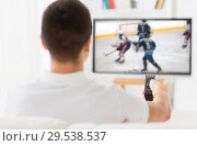 man watching ice hockey game on tv at home. Стоковое фото, фотограф Syda Productions / Фотобанк Лори