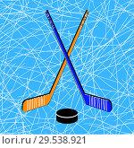 Купить «Two crossed hockey sticks», иллюстрация № 29538921 (c) Сергей Лаврентьев / Фотобанк Лори