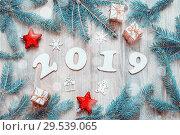 Купить «New Year 2019 background, 2019 figures, Christmas toys, fir tree branches and snowflakes. New Year 2019 still life», фото № 29539065, снято 29 ноября 2016 г. (c) Зезелина Марина / Фотобанк Лори