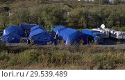 Купить «Military field tents camping, campground of Rescue Center Emercom of Russia», видеоролик № 29539489, снято 2 октября 2018 г. (c) А. А. Пирагис / Фотобанк Лори