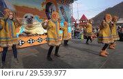 Group of girls dancing in national clothing indigenous inhabitants Kamchatka (2018 год). Редакционное видео, видеограф А. А. Пирагис / Фотобанк Лори