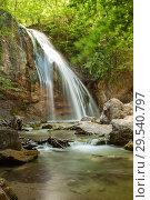 Купить «Водопад Джур-Джур в Крыму. Весенний пейзаж», фото № 29540797, снято 25 августа 2019 г. (c) Владимир Пойлов / Фотобанк Лори