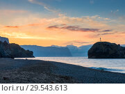 Купить «Beautiful orange dawn, sea landscape beach and sea», фото № 29543613, снято 9 ноября 2017 г. (c) Константин Лабунский / Фотобанк Лори