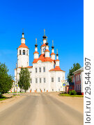 Купить «Russian white orthodox Temple of the Entry of the Lord into Jerusalem against the blue sky The Nativity Church, Totma, Russia. Architectural forms reminiscent of a ship», фото № 29544097, снято 17 июня 2019 г. (c) Mikhail Starodubov / Фотобанк Лори