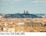 Купить «Basilique du Sacre Coeur (Basilica Sacre Coeur) on Montmartre in Paris, France. Summer day», эксклюзивное фото № 29544285, снято 2 июня 2020 г. (c) Сергей Цепек / Фотобанк Лори