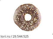Купить «Chocolate donut with nut crumb on a white background. Isolated Donut.», фото № 29544525, снято 9 декабря 2018 г. (c) Александр Якимов / Фотобанк Лори