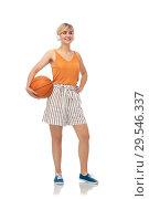 Купить «smiling teenage girl in headphones with basketball», фото № 29546337, снято 30 июня 2018 г. (c) Syda Productions / Фотобанк Лори