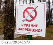 """Купить «Знак """"Курение запрещено"""" на фоне осеннего парка», эксклюзивное фото № 29546573, снято 5 ноября 2018 г. (c) Игорь Низов / Фотобанк Лори"""