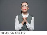 Купить «A woman asks pleads for a help», фото № 29548117, снято 21 декабря 2017 г. (c) Pavel Biryukov / Фотобанк Лори