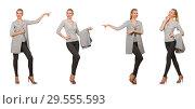 Купить «Pretty woman in gray blouse isolated on white», фото № 29555593, снято 17 сентября 2014 г. (c) Elnur / Фотобанк Лори