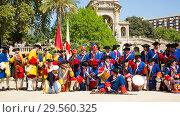 Купить «Portrait of people at costumed procession on the Day of Catalonia in Park de la Ciutadella», фото № 29560325, снято 11 сентября 2018 г. (c) Яков Филимонов / Фотобанк Лори