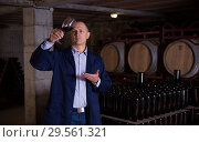 Купить «Sommelier tasting red wines in winery basement», фото № 29561321, снято 22 января 2018 г. (c) Яков Филимонов / Фотобанк Лори