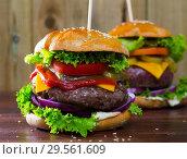 Купить «Two juicy hamburgers», фото № 29561609, снято 22 июля 2019 г. (c) Яков Филимонов / Фотобанк Лори