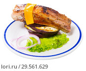 Купить «Baked pork rib with cheese and eggplant», фото № 29561629, снято 16 февраля 2019 г. (c) Яков Филимонов / Фотобанк Лори